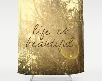 nature photo and inspiring quote fabric shower curtain- trees- sunshine- yellow-brown- typography- home decor- bathroom decor