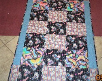 Betty Boop Psychedelic Butterfly Motorcycle quilt blanket Throw cotton Reversible