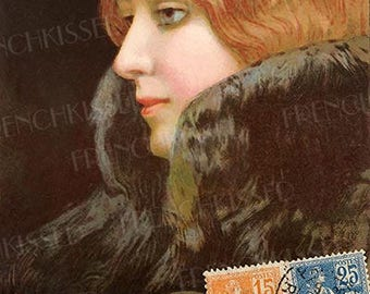 Bonjour from Babette Original Collage Red Head Strawberry Blonde Beauty Paris 1901 Digital Printable Personal Use