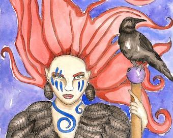 Pagan Art Celtic Goddess The Morrigan Art Print Mythology Witch Art Dark Goddess Divine Sacred Feminine Fantasy Art Print Spiritual Art