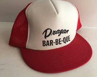 Snap Back Trucker Hat Red and White Adjustable Sport Baseball Cap Dragon Bar Be Que