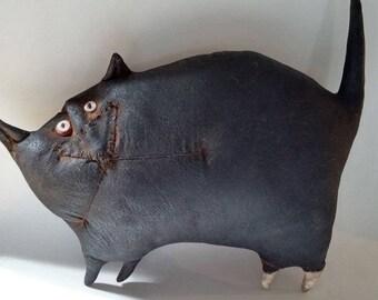 Primitive Prim Folk Art Black Cat Doll Wall Shelf Decor