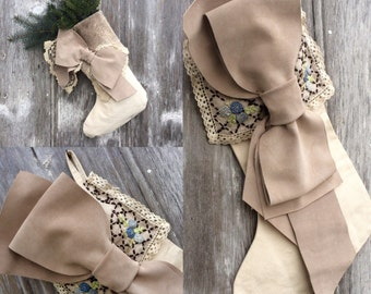 RESERVED for Dianne Winter Stocking Canvas, Leather Bow, Antique Lace by Stacy Leigh