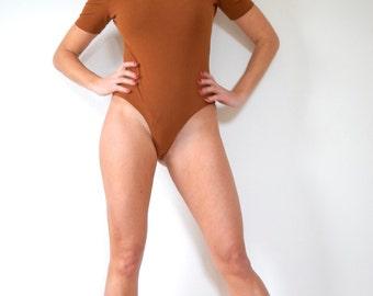 SPRING SALE/ 20% off Vintage 80s 90s Rust Brown Mock Turtleneck Shoulderless Thong Leotard (size medium, large)