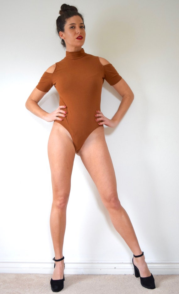 Vintage 80s 90s Rust Brown Mock Turtleneck Shoulderless Thong Leotard (size medium, large)