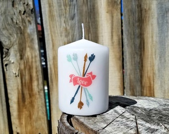 Cupid's Arrows Love 2x3 Pillar Candle