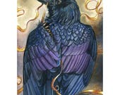 Repairs - ORIGINAL Raven Watercolor Painting - Corvid Bird Wildlife Fantasy Art