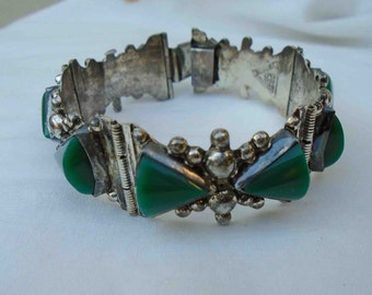Vintage Forties Chunky Mid Century Sterling Silver and Green Onyx Cuff Bracelet / Made in Mexico / Signed ACE