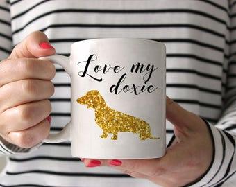 Dachshund Coffee Mug - Dachshund Ceramic Mug  - Love My Doxie Gold Glitter Mug - Dachshund Lover Gift - Doxie Mug - Weiner Dog Mug