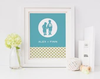Kids Art, Printable Art, Gifts for Mom, last minute gift, children, brother, sister, geometric, modern, personalized, Family Art