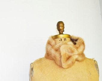 vintage mink  fur scarf with bow very unique design real mink fur neckwarmer