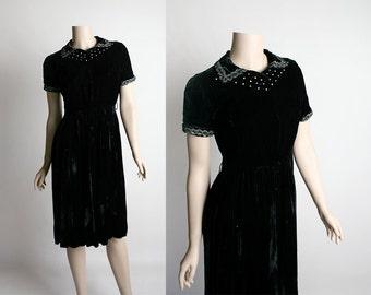 Vintage 1950s Black Velvet Dress - Rhinestone Studded Black Velvet Evening Formal Date Night Dress - Small
