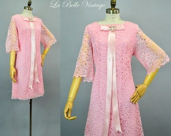 Vintage 1960s Party Dress L Candy Pink Lace Scalloped Bell Sleeves