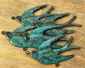 Bird Connector Charm - 1 pc - Aged Teal Patina Brass Swallow - Large - Patina Queen