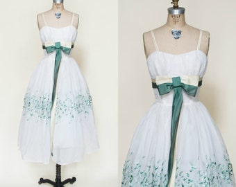 1960s Wedding Dress --- Vintage White Green Party Dress