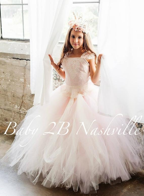 Vintage Dress Ivory Dress Lace Dress Flower Girl Dress Toddler Tutu Dress Girls Tulle Dress Wedding Dress Party Dress Birthday Dress