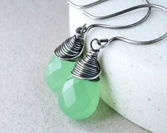 Green  Chalcedony  Earrings Oxidized Silver  Handmade Gemstone Jewelry Sterling   Wire Wrapped Gem Stone Earrings
