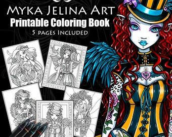 Set 1 - Coloring Book - Myka Jelina Art - Fairy Coloring Book - Fantasy Coloring Pages - Digital Download - 5 Pages - Line Work