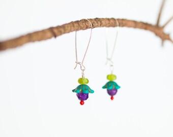 Colorful Dangle Earrings Lightweight Boho Earrings Drop Earring Semiprecious Boho Jewelry for Her Best Friend Gift under 30 Gift for Women