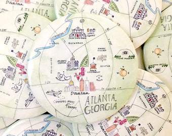 Atlanta, Georgia Watercolor Map Magnets