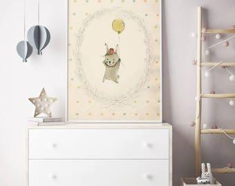 Woodland poster, Woodland nursery, Nursery decor wall art, Woodland nursery wall art, Woodland animal nursery, girl nursery decor
