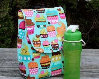 Insulated Lunch Bag Lunch Tote Cupcakes on Teal Ready to Ship