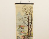 Rare Mid Century Paint By Numbers Scroll Painting Asian Scroll Painting Japanese Scroll Decor Retro Chinese Landscape Scroll