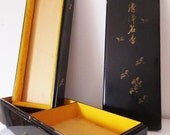 Antique Japanese Lacquer Box Large Asian Compartment Box Jewelry Storage Container Asian Antique Holder Black Lacquer Box Long Tiered Box