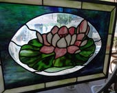 Antique Old Leaded Stained Glass Window, LOTUS Flower, Lilly Pad Window Art, Cottage Stained Glass Window