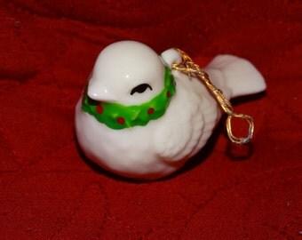 Porcelain White Christmas Bird Ornament, Miniature Ornament, Holly Berry, Christmas Winter Bird, Sow white Bird, Sparrow