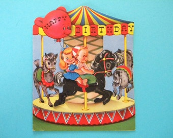 Vintage Mechanical Greeting Card Carousel with Moving Horse Used Birthday Card