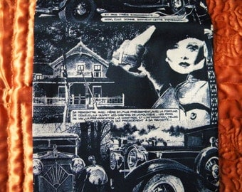 Vintage Biba Era Mod Scarf 1920's Hollywood Film Stars Speaking French Deco Comic Book Style