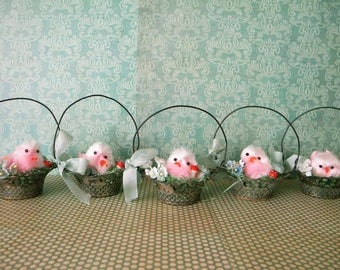 One Vintage Silver Plate Nut Cup with Easter Chick in a Bed of Wax Grass, Flowers and Mushrooms Party Favors