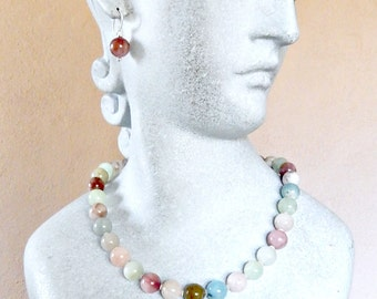 Grade AAA Natural Beryl Beads in Morganite and Aquamarine with Argentium Silver Necklace Set FREE SHIPPING