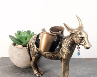 Vintage Brass Pack Mule Figurine, Brass Donkey Statue