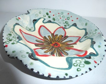 bowl ceramics and pottery dinnerware serving red white green soup bowl cereal bowl floral whimsical