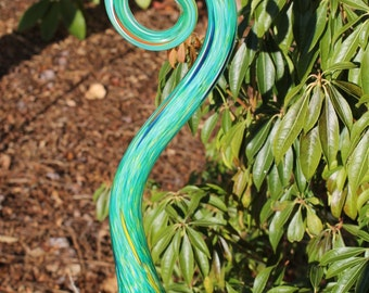 Turquoise Green Glass Fiddlehead Garden Art Sculpture Outdoor Decoration