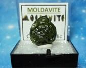 MOLDAVITE Tektite Meteorite Impact Glass In Mineral Specimen Box From Czech Republic FREE Moldavite Tektite Writing Label And Mini Card