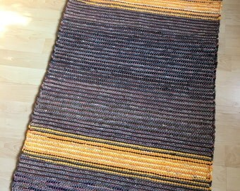 MY SUNSHINE -- Handwoven brown rug with yellow stripes