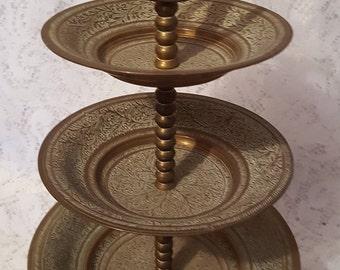 Vintage Brass 3 Tier Dessert Stand From India