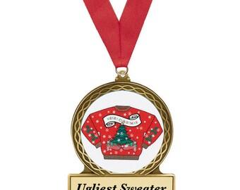 Ugly Christmas Sweater, Award, Christmas Sweater Award, Red Sweater, Ugly Sweater Party, Metal Award, Christmas Award