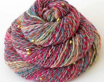Handspun Yarn, Vegan Faux Cashmere Beaded Yarn - 1.7oz, 180yd, WPI 20,