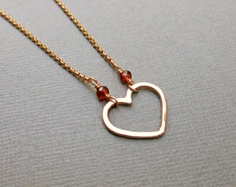 Rose Gold Heart Necklace, Hammered Heart, Rose Pink Gold Fill Dainty, Modern 14KT Gold Fill Jewelry, Romantic, Valentines Gift Under 50