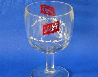 """Schlitz Beer Thumbprint Stemmed Goblet - 16 oz - """"The Beer That Made Milwaukee Famous"""" - Heavy Glass Footed Goblet"""