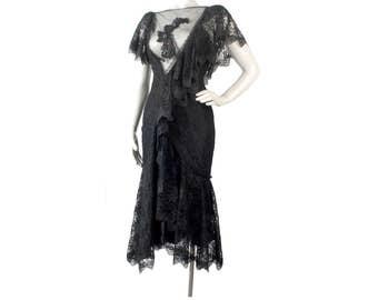 Vintage 80s Dress - 80s Party Dress - Black Lace Dress - New Leaf- Deep Neckline - 80s Prom Dress - 80s Party Dress - Black Party Dress - S