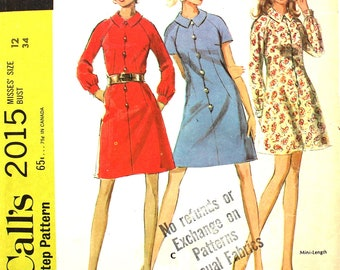 Dress with Raglan Sleeve Bust 34 Size 12 McCalls 2015 Vintage Sewing Pattern