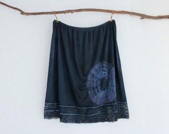 MUSE . women's tie dye skirt . plus size 26 . navy blue . up-cycled slip . gypsy hippy boho festival hippie eco . australia . US size 22