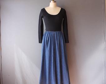 vintage 90s dress / black top denim skirt dress / scoop neck dress / small