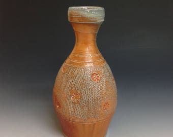 Vase with Stamped and Rope Impressed Decoration.  Soda Glazed Stoneware Pottery