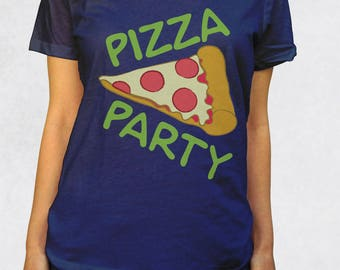 Ladies' Scoop Tee - Pizza Party Shirt - Sizes XS-S-M-L-XL-2XL - Delicious Junk Food Pepperoni Lovers Sleepover Fun Graphic Womens Scoopneck